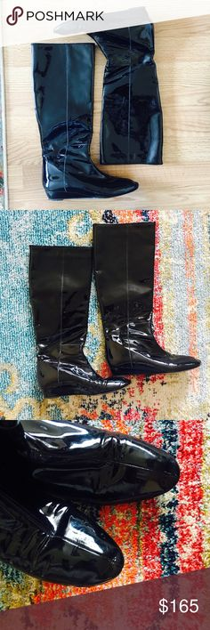"""Loeffler Randall Matilda Boot Loeffler Randall patent boots in black. Pull on style with 14.5"""" circumference. Slight 1"""" wedge heel. In very good condition. No trades Loeffler Randall Shoes Over the Knee Boots"""