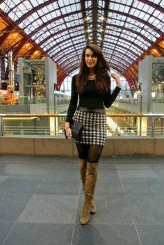 Outfit: pied-de-poule skirt