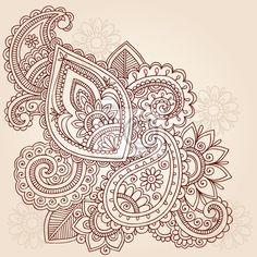 Wall Mural Henna Abstract Doodle Mehndi Tattoo Vector Design