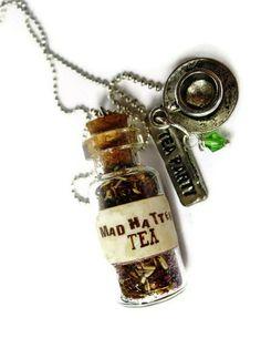 ☆ Alice In Wonderland Mad Hatter Tea Glass Vial Necklace :¦: Etsy Shop: TheSpangledMaker ☆