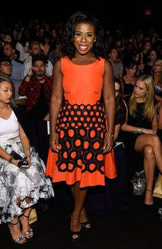 "Meanwhile, Uzo Aduba (aka ""Crazy Eyes"") stuck to orange for Vivienne Tam—and looked gorgeous in her fit-and-flare frock."