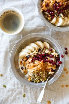 A Power Bowl to Start the Morning! Oatmeal Quinoa Breakfast Bowl Recipe with Bananas, Coconut, Pepitas, Pomegranate Seeds, Maple Syrup, & Cinnamon