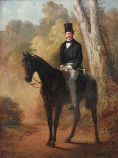 Adolf Schreyer: Konna przejażdżka po parku, 1856 r. olej, płótno, 103 × 78 cm sygn. i dat. p. d.: Ad. Schreyer 1856