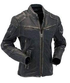 Men/'s Diamond Matelassé Kay Michael Style Cuir Noir Coupe Slim Veste de motard