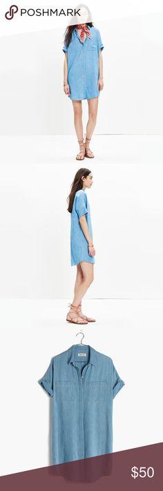 Madewell Denim Courier Shirtdress Dress L Chambray/denim shirt dress. Size L Large. BNWT Madewell Dresses