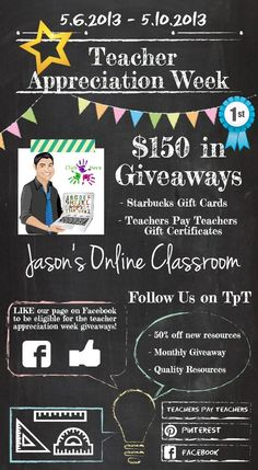Click the picture to visit and follow our TpT online store.  Like our Facebook page to participate in the daily giveaways during Teacher Appreciation Week:  https://www.facebook.com/JasonsOnlineClassroom.