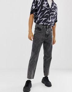6c5cfcca17a4 ASOS DESIGN high waisted jeans in vintage acid wash black
