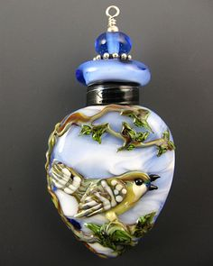 NEW Lampwork Song Bird Perfume Bottle Aromatherapy by kerribeads