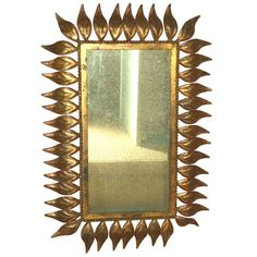 Vintage Spanish Gilt Metal Leaf Frame Mirror 1