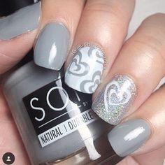 Classy grey & sparkly mani by @shaystylista  Shay is using our Small Heart Swirl Nail Vinyls found at: snailvinyls.com