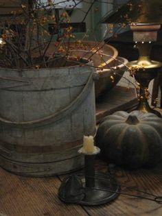 Prim Fall...old firkin, candlestick, grungy pumpkin & bittersweet.