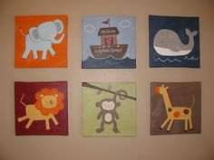 SET OF 3 Ark Animals by Kids Line animal by CarrieSweeneyArt, $100.00