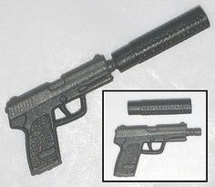 """TACTICAL Pistol w/ Silencer Gun-Metal -1:18 Scale Weapon for 3-3/4"""" Figures"""