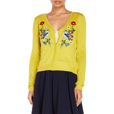 Yumi Embroidered Cardigan ($45) ❤ liked on Polyvore featuring tops, cardigans, green, yellow v neck cardigan, v neck cardigan, button front cardigan, yellow cardigan and embroidered tops