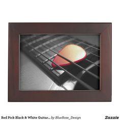 Shop Red Pick Black & White Guitar Keepsake Box created by BlueRose_Design. Wooden Keepsake Box, Keepsake Boxes, Best Gifts For Men, Cool Gifts, Guitar Gifts, Black Velvet, Colorful Backgrounds, I Shop, Black And White