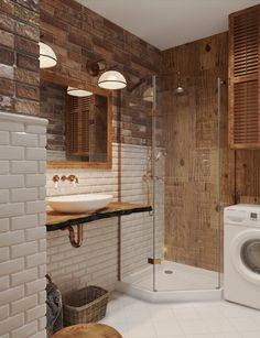 7 Appreciate Tips AND Tricks: Half Bathroom Remodel Sconces bathroom remodel home improvements.Very Small Bathroom Remodel. Bathroom Design Small, Simple Bathroom, Bathroom Interior Design, Modern Bathroom, Brick Bathroom, Loft Bathroom, Narrow Bathroom, Bathroom Laundry, Hall Bathroom