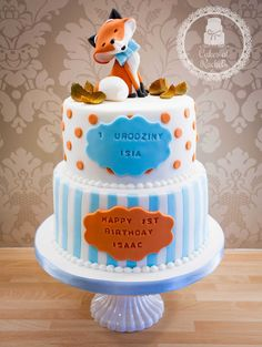 Orange and blue Happy Little Fox 1st Birthday Cake - topper inspired by Carlos Liscetti