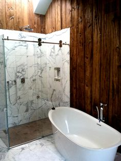 Marble & Wood Bathroom   Carriage House Restoration   Dennis Schorndorf Fine Homebuilding