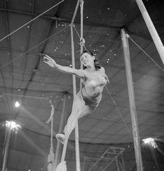 Rope aerialist rehearsing. Ringling Bros, B&B, 1949