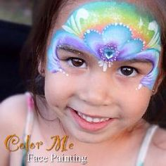 A rainbow princess face painting - Color Me Face Painting #colormefacepainting #facepainting #princess #rainbow #facepaint