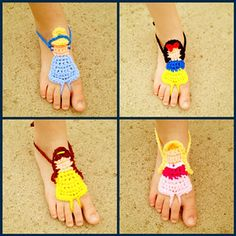 Barefoot Sandals are popular and they look particularly gorgeous in Crochet. We've included a round up of Awesome Crochet Barefoot Sandals Patterns Crochet Amigurumi, Crochet Baby Booties, Crochet Slippers, Knit Crochet, Crochet Crafts, Crochet Projects, Pinterest Crochet Patterns, Barefoot Sandals Pattern, Crochet Disney