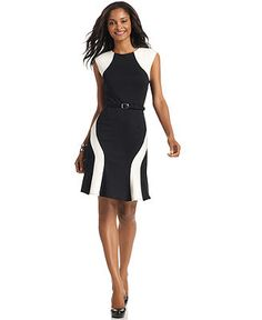 Spense Petite Dress, Sleeveless Colorblocked Belted A-Line - Petite Dresses - Women - Macy's