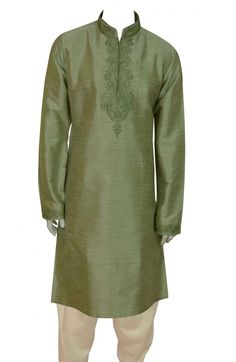 Men' s designer Pistachio kurta Mix blend washable fabric in various sizes with zari and resham embroidery around the neck and sleeves, comes alongwith cream cotton salwar . For Indian, pakistani women children designer sarees, mens kurta shalwar kameez, wedding cheap, latest, party wear, men, boys sherwani, shops in Southall Broadway, UK, Birmingham, Green Street, Manchester, Bradford, Wembley, upper tooting road, Wolverhampton, London, Leicester, Ilford lane, Coventry. www.desisarees.com