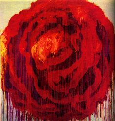 Painting detail of Roses,Gaeta by Cy Twombly 2009. Dryprint on cardboard.