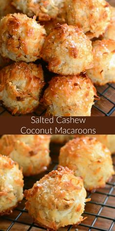 Salted Cashew Coconut Macaroons. A few simple ingredients can come together so easily to create a delicious little coconut treat. These Coconut Macaroons are extra special because I've added some cashews and a touch of sea salt. #coconut #macaroons #coconutmacaroons
