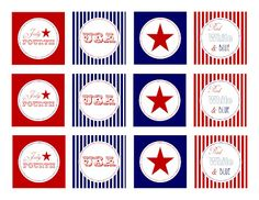 Free Printable 2 inch party circles for the Fourth!  Great for Cupcake toppers!