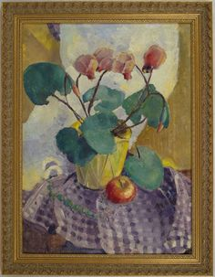 "Maija Eliase (1924-1991) Latvian Expressionistic Oil on Panel Still Life Painting    This original oil on panel painting depicts cyclamen flowers in a pot.  This expressionistic painting employs a sophisticated knowledge of light, color and perspective.   The painting itself is measuring about 17"" by 23 ¾"" and the frame is measuring about 21"" by 27"".   The painting is monogrammed by the artist ""ME"" in the lower right corner."