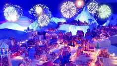 Fireworks (simulated, we think) over Pepperkakebyen gingerbread village.