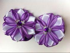 Украшение на резинку Канзаши / Фиолетовые Цветочки - YouTube