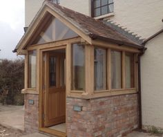 The Grafton – Oak Framed Enclosed Porch - Ganek Porch Uk, Cottage Porch, House With Porch, House Front, Oak Front Door, Front Door Porch, Front Porch Design, Porch Designs Uk, Porch Entrance