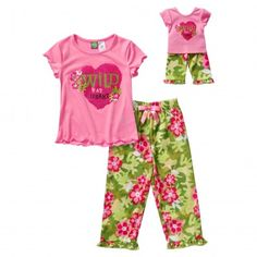 """Wild at Heart"" Two Piece Sleepwear Set with Matching Outfit for 18 inch Play Doll. She will love wearing this matching sleep set with her Dollie."