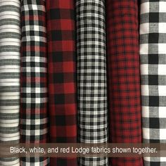 Mountain Lodge Homespun Fabric Collection from Jubilee Fabric - perfect for Christmas, winter, or anywhere you want a cozy cabin vibe. Buffalo, plaid, checkered red and white and black fabrics. Plaid Bedding, Plaid Quilt, Rag Quilt, Christmas Lodge, Plaid Christmas, Rustic Christmas, Christmas Fabric, White Placemats, White Cabin