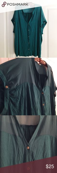 Design History Mesh Yoke Short Sleeve Button Down Design History short sleeve button down with v neck detail and mesh at shoulders and upper back. Side button detail at sleeve. Relaxed fit. Design History Tops Button Down Shirts