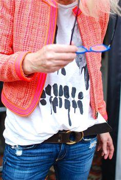 tweed jacket | graphic tee | jeans