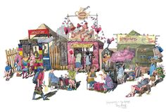 My #painting of the market at the #Glastonbury #Festival. Food 24 hours a day.  #art