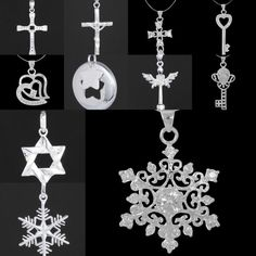 Solid Charm 925 Sterling Silver Cross Key Pendant Fashion Jewellery For Necklace