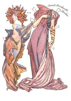 In the Style of Alphonse Mucha, 19th century Art Nouveau fashion illustrator