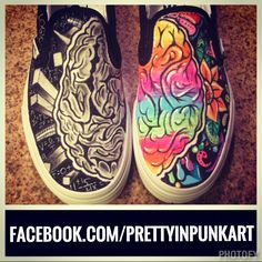 Left brain right brain custom toms! :)  Www.facebook.com/prettyinpunkart  Instagram: prettyinpunkart