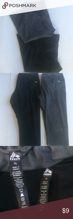 RBX set of 2 active legging capris size XL Set of two rbx black and gray legging capris in a size XL. Both have been worn but are in EUC. Fabric makeup is cotton elastane and spandex  Bundles and offers are always welcome  HAPPY POSHING POSHERS Measurements  Inseam 17' RBX Pants Capris