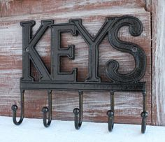 Black Key Holder Wall Key Hook Keys Rack Key Rail Wall Wall Mounted Key Holder, Wall Key Holder, Cast Iron, It Cast, Decorative Wall Hooks, Key Rack, The Black Keys, Key Hooks, Wall Decor