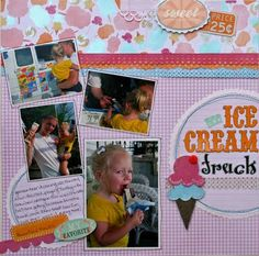 Ice Cream Truck scrapbook layout by Audrey Layout -- Fun borders and graphics