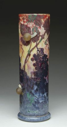 Daum Frères, Nancy, Applied, Acid Etched and Wheel Carved Glass Vase.  The small applied snails are fabulous.