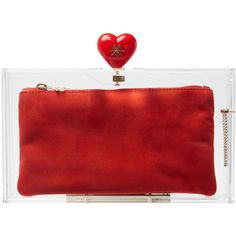 Charlotte Olympia Love Pandora Clutch ($449) ❤ liked on Polyvore featuring bags, handbags, clutches, evening bag, heart shaped purse, red pouch, red evening bags clutches, clasp purse and acrylic box clutch