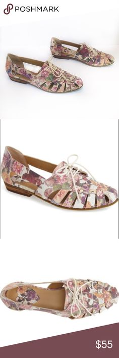 Latigo floral flats Latigo floral flats. Size 8.5. New in box. Woven huarache straps in a lovely floral print amplify the bohemian vibe of a leather flat with a hint of a borrowed-from-the-boys oxford silhouette. Lace-up closure. Leather upper/synthetic lining and sole. Latigo Shoes Flats & Loafers