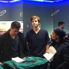 """The Good Doctor ABC on Instagram: """"LIVE Behind the scenes in today's #thegooddoctor rehearsal! Nick, Freddie and Antonia...You can actually see the neck muscles popping as as Nick reads his dialogue!!! Haha. 📷@hillharper"""""""