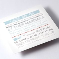 Modern Vintage Wedding Invitations - Blue and Red £168.00
